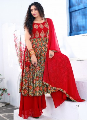 Red Embroidered Faux Georgette Readymade Suit