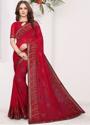 Red Embroidered Faux Georgette Traditional Saree