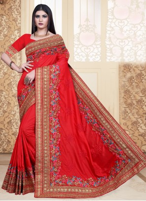 Red Embroidered Festival Contemporary Saree