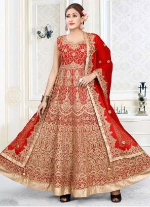 Red Embroidered Floor Length Designer Suit