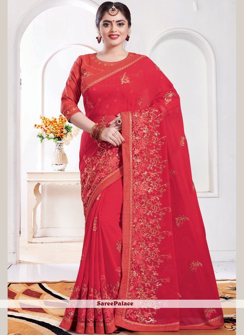 Red Embroidered Georgette Classic Saree