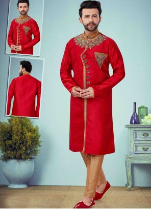 Red Embroidered Indo Western