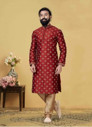 Red Embroidered Jacquard Silk Kurta Pyjama