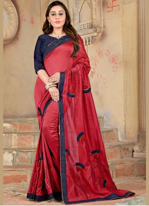 Red Embroidered Mehndi Casual Saree