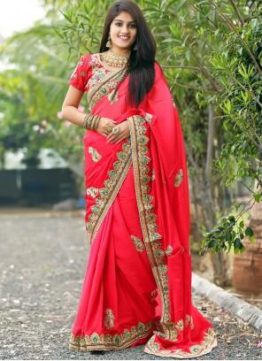 Red Embroidered Mehndi Traditional Designer Saree