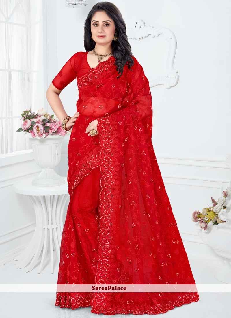 Red Embroidered Net Classic Designer Saree