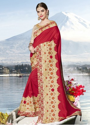 Red Embroidered Party Designer Saree