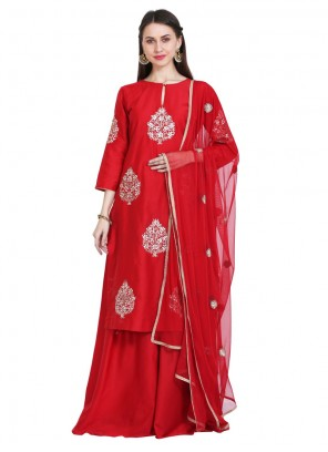 Red Embroidered Party Readymade Salwar Kameez