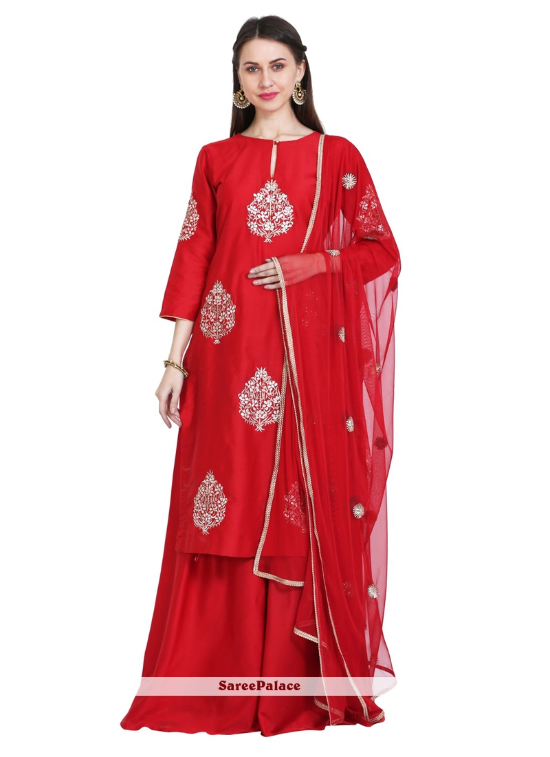 c0f2716577 Buy Red Embroidered Party Readymade Salwar Kameez Online