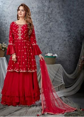 Red Embroidered Readymade Lehenga Choli