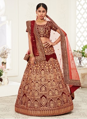 Red Embroidered Reception Bollywood Lehenga Choli