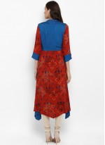 Red Embroidered Reception Kurta