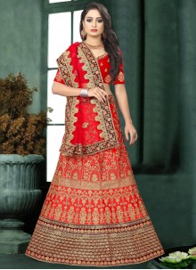 Red Embroidered Reception Lehenga Choli