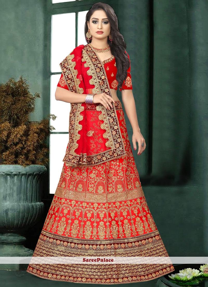 Red Embroidered Reception Lehenga Choli