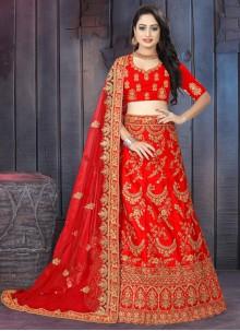Red Embroidered Satin Lehenga Choli