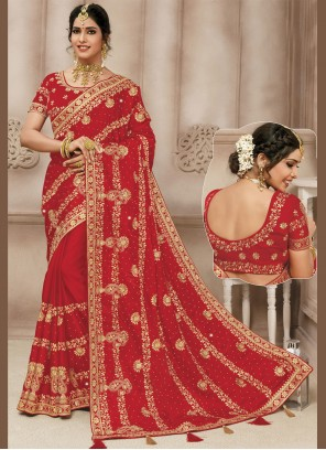 Red Embroidered Satin Silk Designer Traditional Saree