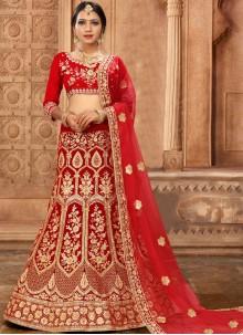 Red Embroidered Satin Silk Lehenga Choli