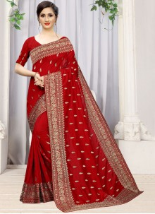 Red Embroidered Silk Classic Designer Saree
