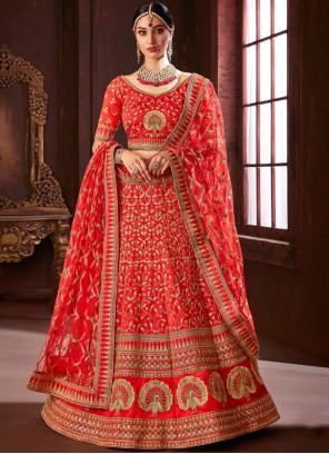 Red Embroidered Silk Designer Lehenga Choli