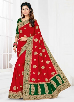Red Embroidered Silk Designer Traditional Saree