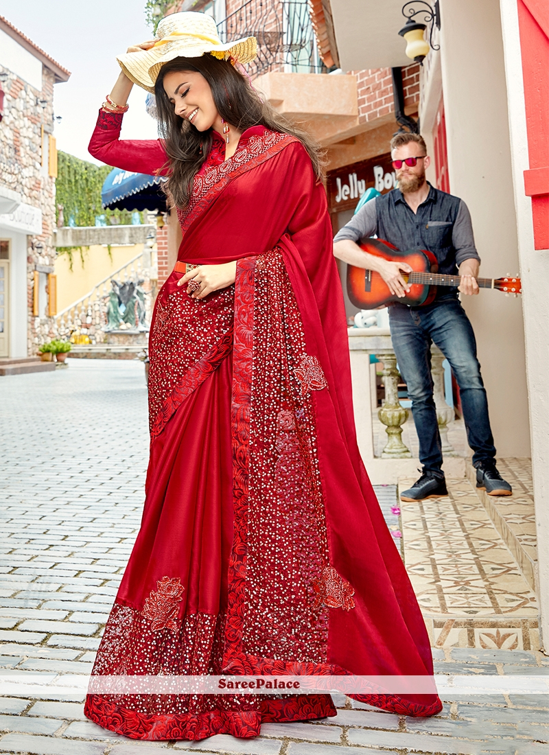 Red Embroidered Silk Trendy Saree