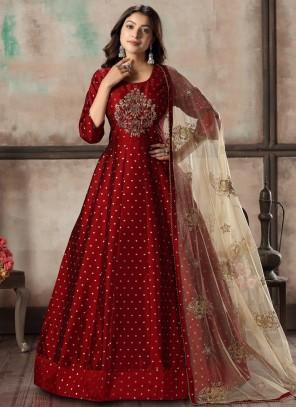 Red Embroidered Tafeta Silk Anarkali Salwar Kameez