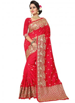 Red Embroidered Traditional Designer Saree