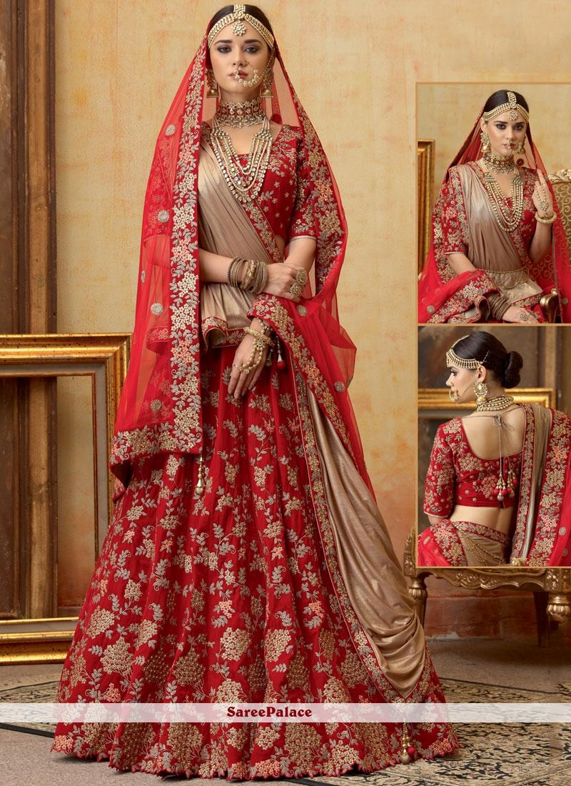 Red Embroidered Velvet A Line Lehenga Choli