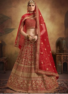 Red Embroidered Velvet Designer Lehenga Choli