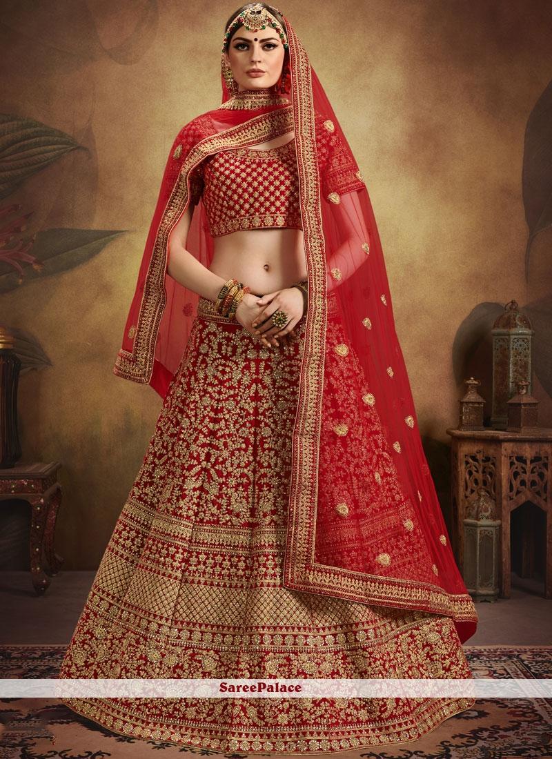Red Embroidered Velvet Designer Lehenga Choli