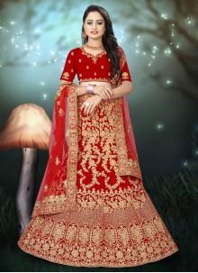 Red Embroidered Wedding A Line Lehenga Choli