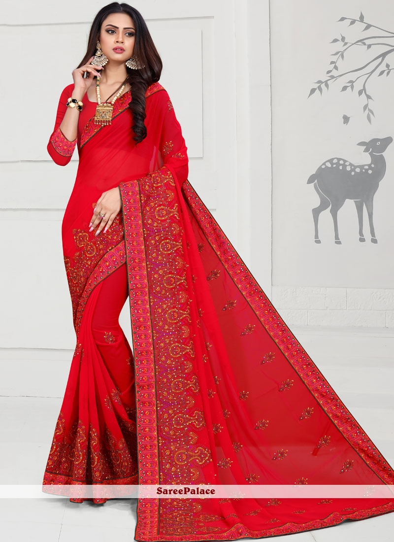 Red Embroidered Wedding Trendy Saree