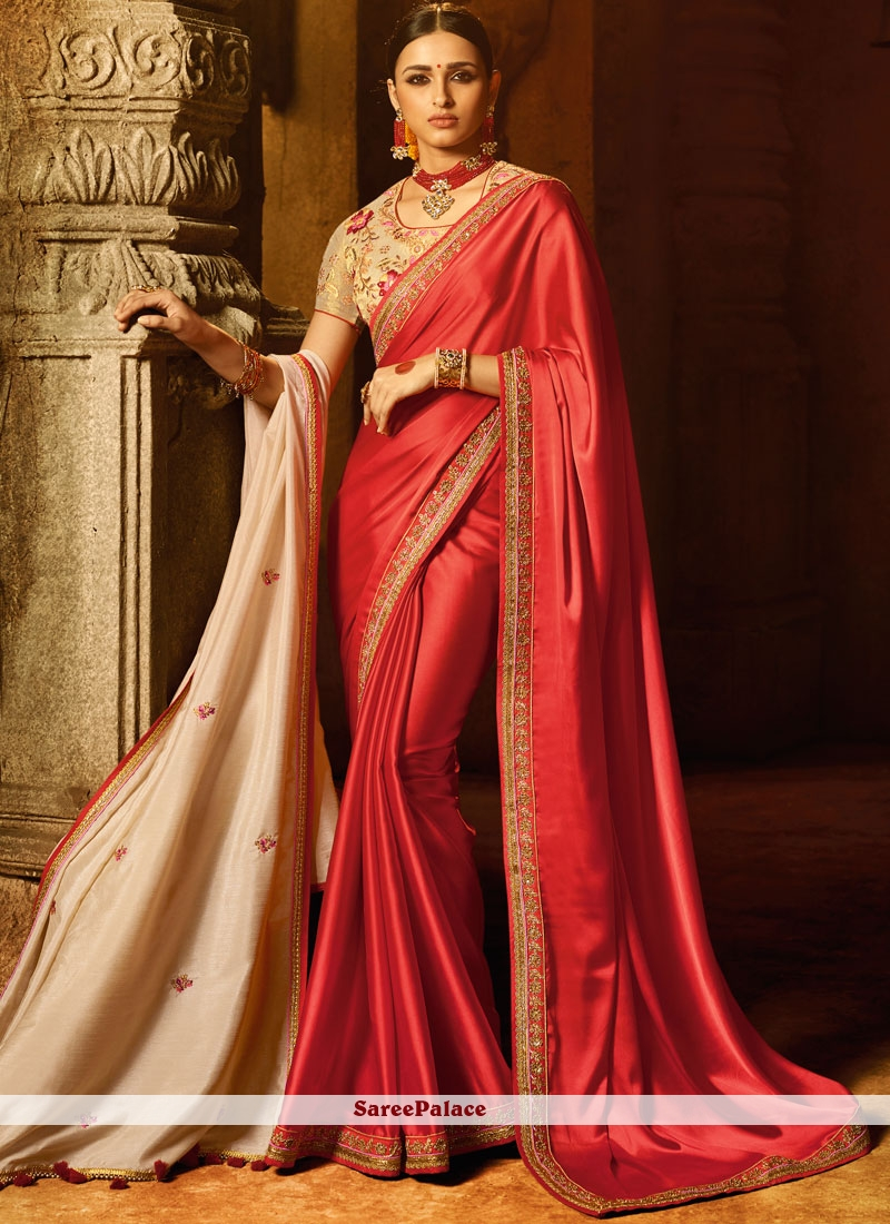 Red Embroidered Work Designer Traditional Saree