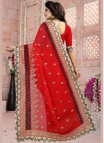 Red Embroidered Work Faux Georgette Classic Saree