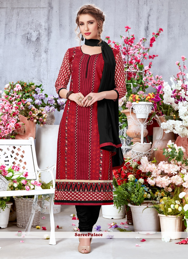 Red Embroidered Work Georgette Trendy Churidar Salwar Suit