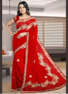 Red Engagement Designer Traditional Saree