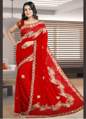 Red Engagement Designer Traditional Saree