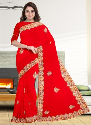 Red Engagement Faux Georgette Designer Traditional Saree