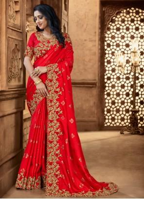 Red Engagement Satin Classic Designer Saree