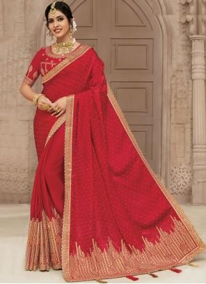 Red Engagement Satin Silk Designer Traditional Saree