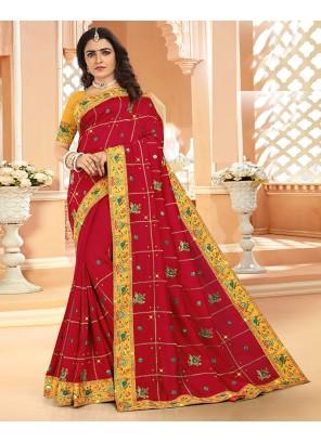 Red Engagement Silk Designer Saree
