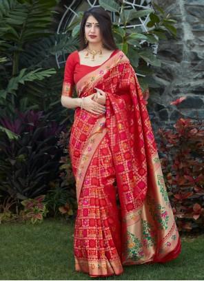 Red Engagement Silk Designer Traditional Saree