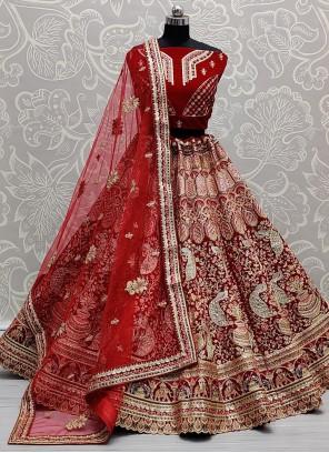 Red Engagement Velvet Lehenga Choli
