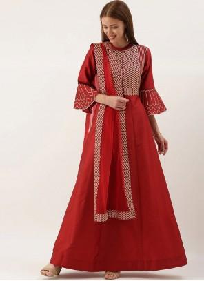 Red Fancy Art Silk Party Wear Kurti