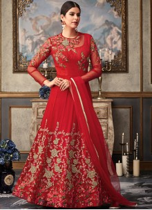 Red Fancy Fabric Embroidered Floor Length Anarkali Suit