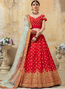 Red Fancy Fabric Lehenga Choli