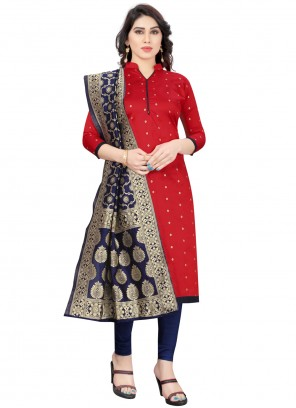 Red Fancy Festival Churidar Designer Suit