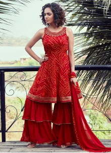 Red Fancy Georgette Readymade Suit