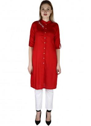 Red Fancy Party Wear Kurti