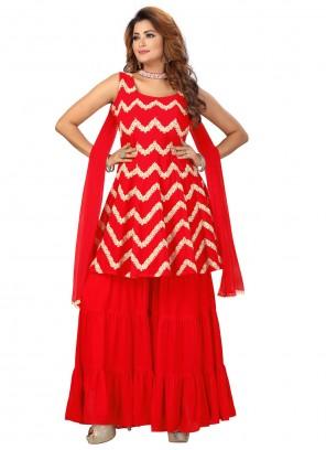 Red Fancy Faux Georgette Readymade Suit